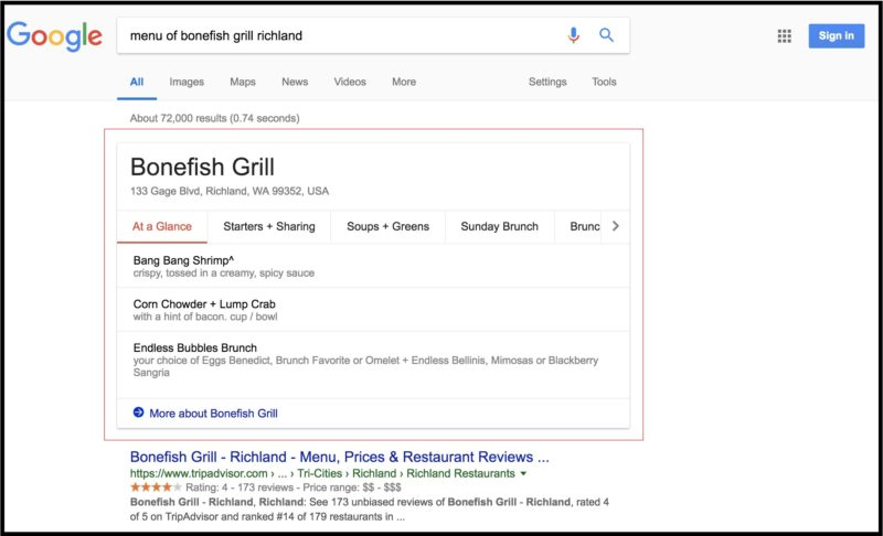 Improved Menu Listing Features on Google My Business