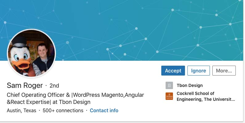 Image of the fake LinkedIn profile